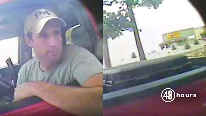 Patrick Frazee, seen on surveillance video at a drive-through ATM on November 22, 2018, was on his way to Kelsey Berreth's home just before her murder. In the back of his truck, pictured right, is the black tote that prosecutors say he soon used to transport Berreth's body after beating her to death with a baseball bat. / Credit: Teller County District Attorney's Office