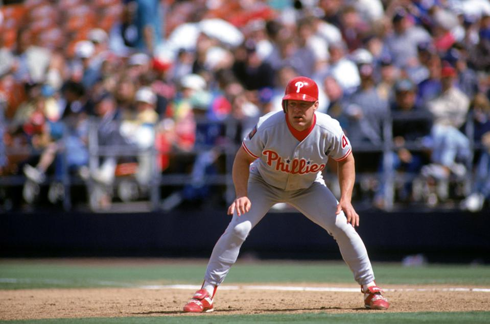 SAN DIEGO - APRIL 24:  Lenny Dykstra #4 of the Philadelphia Phillies leads off the base during a game against the San Diego Padres on April 24, 1994 at Jack Murphy Stadium in San Diego, California.  (Photo by J.D. Cuban/Getty Images)