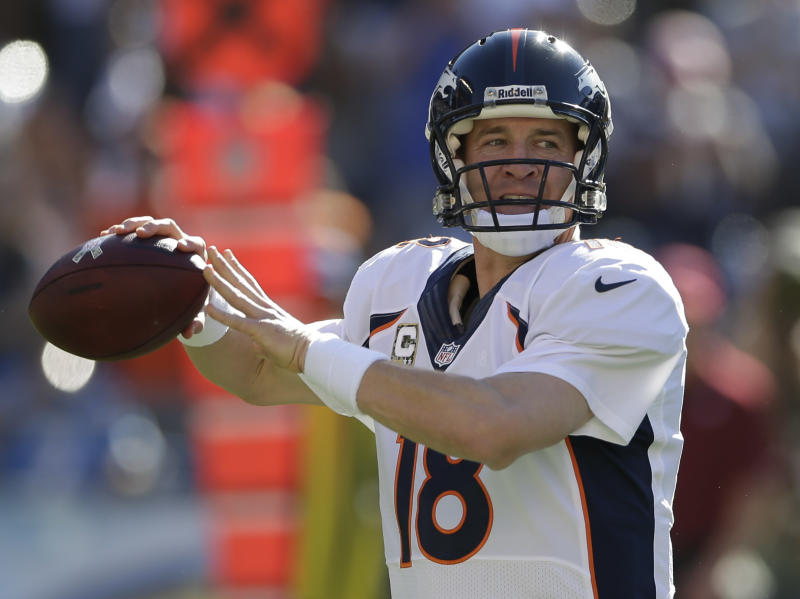 Denver Broncos quarterback Peyton Manning throws a pass while playing the San Diego Chargers during the second half of a NFL football game Sunday, Nov. 10, 2013, in San Diego. (AP Photo/Gregory Bull)