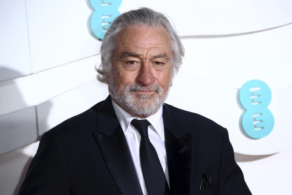 Actor Robert De Niro poses for photographers upon arrival at the Bafta Film Awards, in central London, Sunday, Feb. 2 2020. (Photo by Joel C Ryan/Invision/AP)