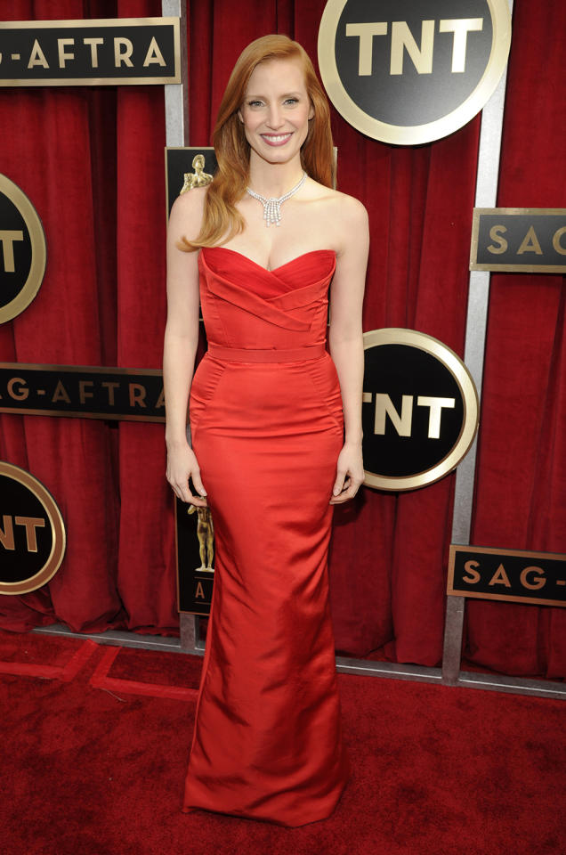 Jessica Chastain arrives at the 19th Annual Screen Actors Guild Awards at the Shrine Auditorium in Los Angeles, CA on January 27, 2013.