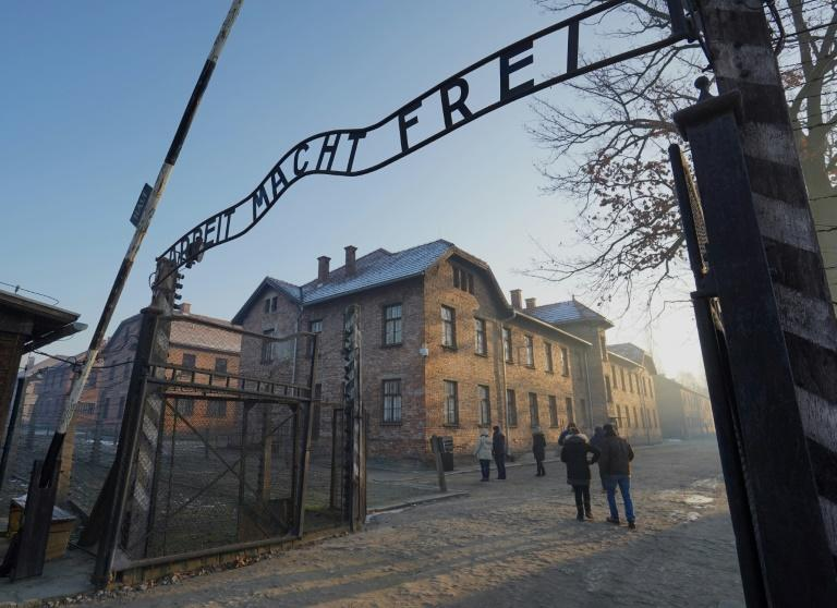 """The Auschwitz Memorial, which preserves the site of the Nazi death camp in Poland (main gate pictured), accused Amazon's new series """"Hunters"""" of """"dangerous foolishness & caricature"""" by inventing torture scenes"""