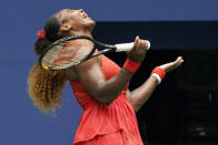 Serena Williams, of the United States, reacts during a match against Tsvetana Pironkova, of Bulgaria, during the quarterfinals of the US Open tennis championships, Wednesday, Sept. 9, 2020, in New York. (AP Photo/Seth Wenig)