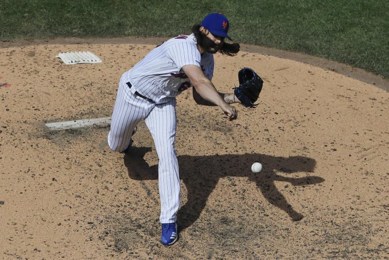 New York Mets' Robert Gsellman delivers a pitch during the seventh inning of a baseball game against the Washington Nationals, Sunday, Aug. 11, 2019, in New York. (AP Photo/Frank Franklin II)
