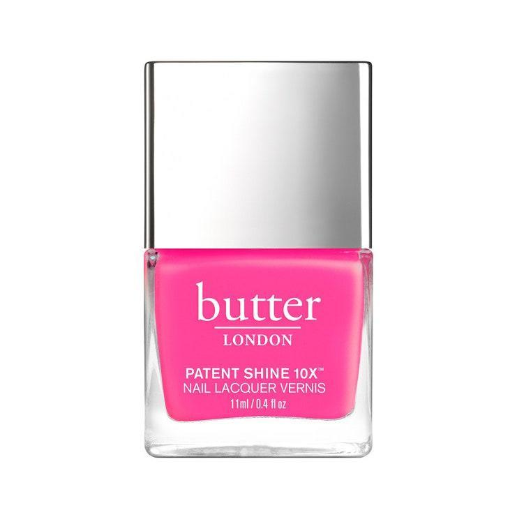 """<p>""""Butter London Strawberry Fields is a full-coverage pink that you don't need multiple coats of,"""" says Inzerillo. We love this shade for summer, but it doesn't hurt to include it in your <a href=""""https://www.allure.com/gallery/best-at-home-gel-manicure-nail-kits?mbid=synd_yahoo_rss"""" rel=""""nofollow noopener"""" target=""""_blank"""" data-ylk=""""slk:nail kit"""" class=""""link rapid-noclick-resp"""">nail kit</a> all year round for a little brightness on those dark and gloomy winter days. </p> <p><strong>$18</strong> (<a href=""""https://www.butterlondon.com/strawberry-fields-patent-shine-10x-nail-lacquer"""" rel=""""nofollow noopener"""" target=""""_blank"""" data-ylk=""""slk:Shop Now"""" class=""""link rapid-noclick-resp"""">Shop Now</a>)</p>"""