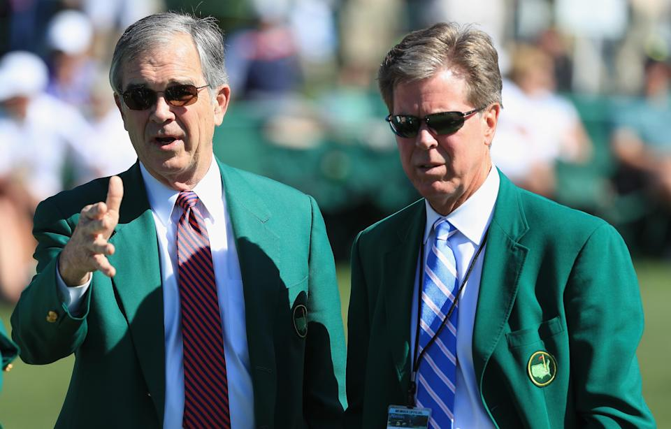 Fred Ridley (R) took over as chairman of Augusta National from Billy Payne (L) last year. Ridley's first major order of business was to announce a women's amateur event hosted at the course. (Getty)