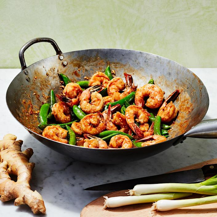 <p>This shrimp stir-fry has bright flavors from sugar snap peas, garlic and ginger and comes together in less than a half-hour for a quick, healthy meal.</p>