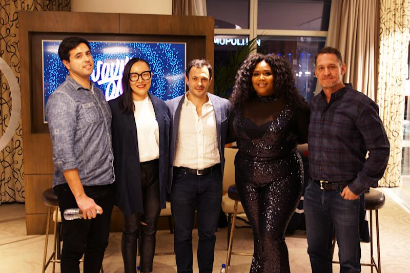 "SoundCloud x Pandora ""Be First to be Heard"" event on Tuesday, January 8th, 2019 at Pandora's CES HQ Sky Villa at CES from left to right: Tim Peterson (Digiday), Minjae Ormes (CMO, Visible), Michael Weissman (COO, SoundCloud), artist Lizzo and Chris Phillips (CPO, Pandora)"