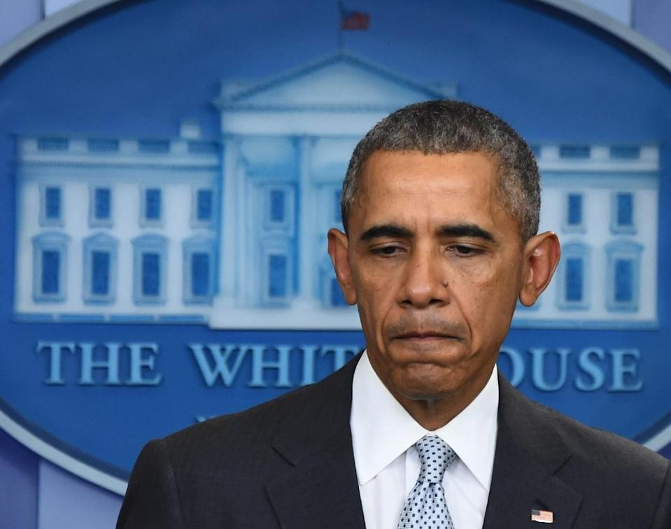 US President Barack Obama speaks to the press in Washington, DC on November 13, 2015, after being informed about the deadly attacks in Paris (AFP Photo/Jim Watson)