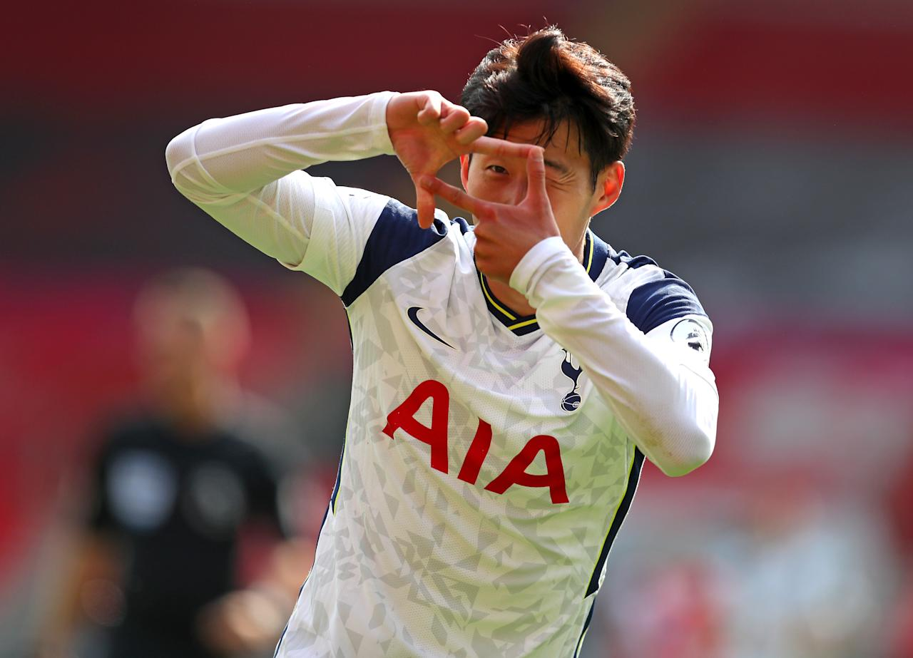 Tottenham Hotspur's Son Heung-min celebrates scoring his side's second goal of the game during the Premier League match at St Mary's Stadium, Southampton.
