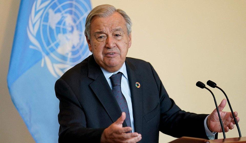 Antonio Guterres, secretary general of the United Nations, speaks in New York on Monday. Photo: AFP