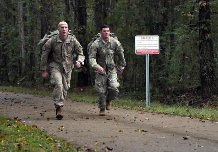Active duty soldiers of the177th Armored Brigade of Camp Shelby and community members participate in the second annual 10k Food Drive Ruck March on Wednesday, November 14, 2018. Soldiers and community members ran and walked a 10k on the Longleaf Trace to drop off donated food items to Edwards Street Mission before the holiday season. A collection of 2,676.3 pounds of food was donated.