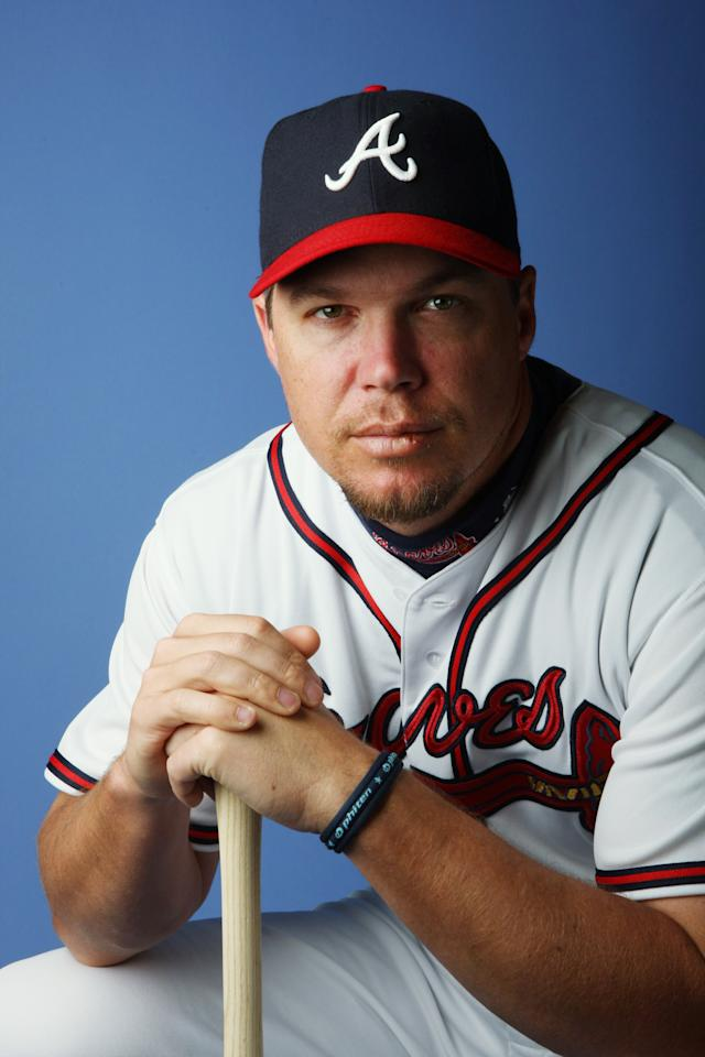 KISSIMMEE, FL - FILE:  Chipper Jones #10 of the Atlanta Braves poses during Photo Day on February 25, 2008 at Disney's Wide World of Sports in Kissimmee, Florida. According to reports March 22, 2012, Jones annouced he will retire after the 2012 season.  (Photo by Elsa/Getty Images)