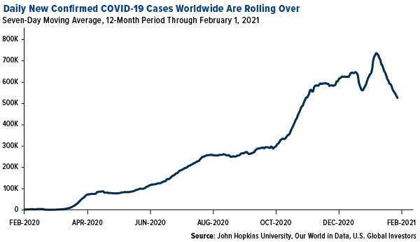 daily new confirmed COVID cases worldwide are rolling over in February 2021