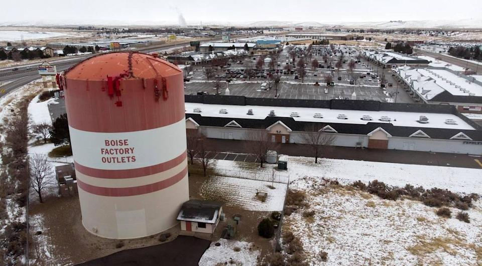 The iconic water tower has long been a landmark for Boise Factory Outlets in East Boise.