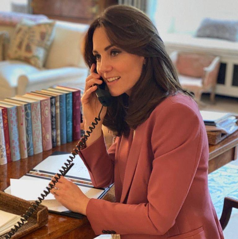 """<p>When sharing a statement about the importance of mental health during the COVID-19 crisis, Will and Kate <a href=""""https://www.townandcountrymag.com/society/tradition/a31966705/kate-middleton-prince-william-kensington-palace-coronavirus-photos/"""" rel=""""nofollow noopener"""" target=""""_blank"""" data-ylk=""""slk:also offered a rare peek inside their workspace at Kensington Palace with this photo of Kate rocking a pink pantsuit and taking a call at her desk"""" class=""""link rapid-noclick-resp"""">also offered a rare peek inside their workspace at Kensington Palace with this photo of Kate rocking a pink pantsuit and taking a call at her desk</a>.</p>"""