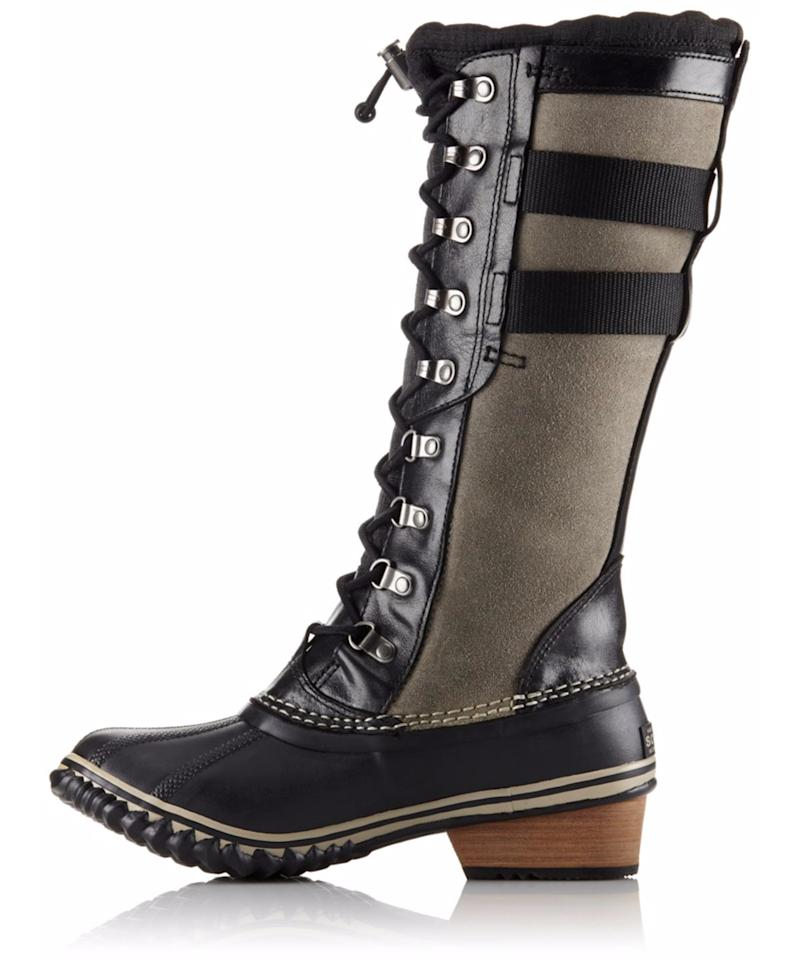"<p>A lace-up version for a Victorian twist on snow boots that almost feel like a riding boot.</p> <p>$225 | <a rel=""nofollow"" href='http://www.anrdoezrs.net/links/7799179/type/dlg/sid/ISAHWinterBoots/fragment/start%3D0/http://www.sorel.com/womens-conquest-carly-ii-duck-boot-1689681.html?cgid=winter-boots&dwvar_1689681_variationColor=010'>sorel.com</a></p>"