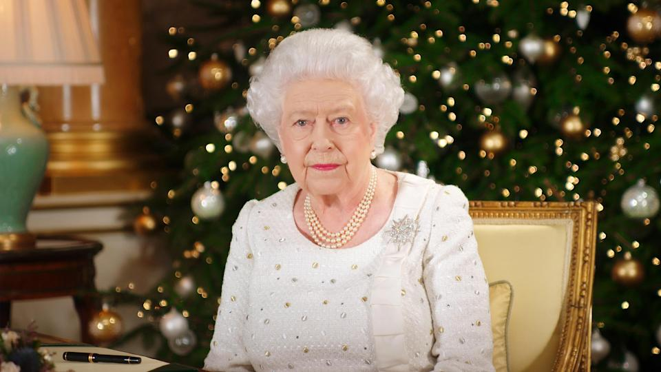 The Queen recording her Christmas speech [Photo: Getty]