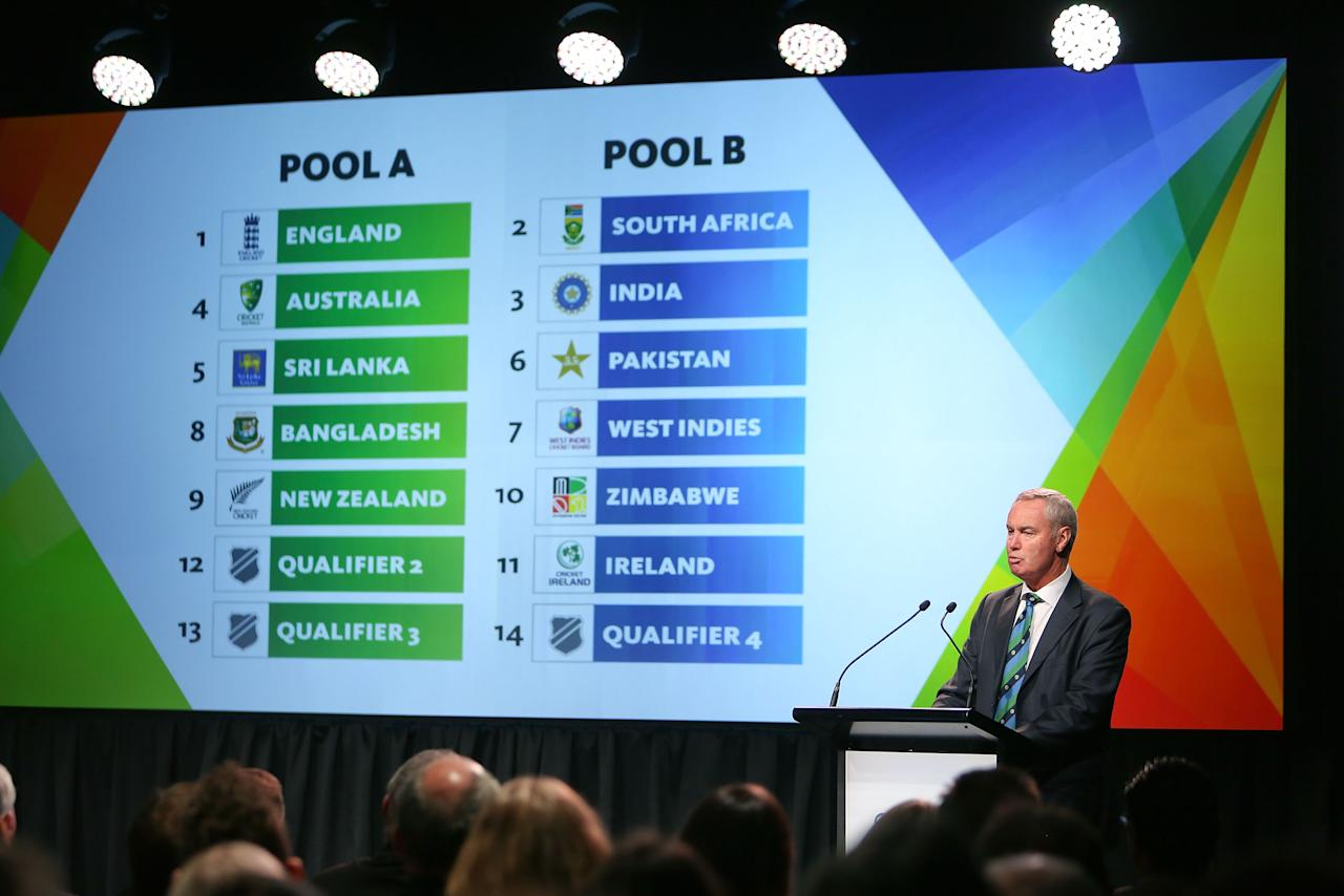 WELLINGTON, NEW ZEALAND - JULY 30:  ICC President Alan Isaac announces the pool draws during the official launch of the ICC Cricket World Cup 2015 on July 30, 2013 in Wellington, New Zealand.  (Photo by Hagen Hopkins/Getty Images for ICC)
