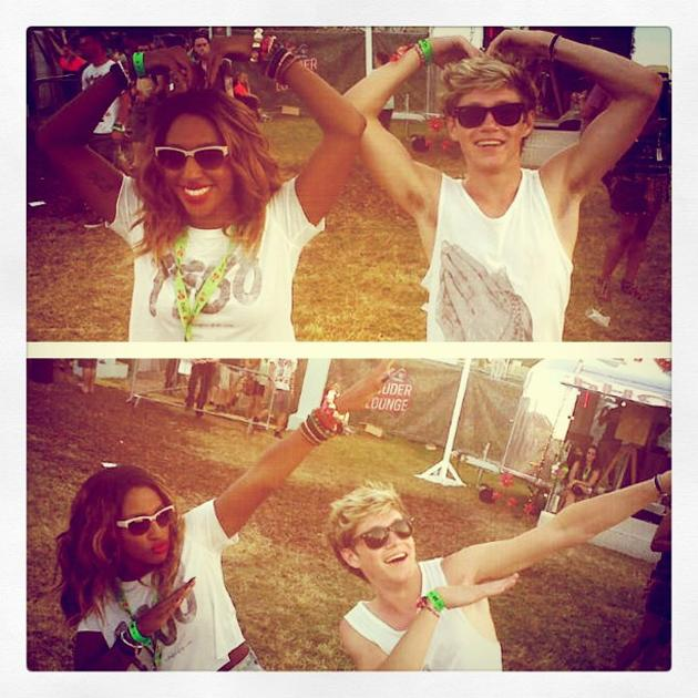 Celebrity photos: Alexandra Burke and Niall Horan are celeb BFFs, so when they bumped into each other at V Festival, they couldn't resist larking around for a Twitpic. A few days later, Alexandra tweeted the photo, showing the pair doing Usain Bolt's lightning bolt pose and Mo Farah's Mo-Bot.