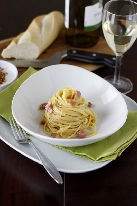 """<div class=""""caption-credit""""> Photo by: Brooke McLay</div><div class=""""caption-title"""">BUY 2-lbs of Pasta (Approx. cost: $1.50)</div>Go Italiano and feel like a food diva, even when you're eating on a budget. There are so many easy, affordable ways to make pasta. Top it with storebought spaghetti sauce, keep it simple and add a bit of melted margarine & salt & pepper to your noodles, or make an easy cream sauce with milk, margarine, and a little flour. <br> <i><a href=""""http://www.babble.com/best-recipes/how-to-feed-you-family-for-1-week-on-just-20/?cmp=ELP