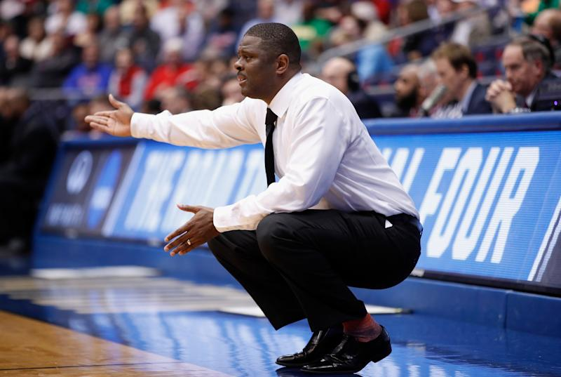 Head coach LeVelle Moton of the North Carolina Central Eagles reacts in the first half against the Texas Southern Tigers during the First Four of the 2018 NCAA Men's Basketball Tournament at UD Arena on March 14, 2018 in Dayton, Ohio.