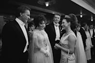 <p>At the Royal Film performance of <em>The Taming of the Shrew</em>, Princess Margaret chatted with Richard Burton and his wife, Elizabeth Taylor. </p>