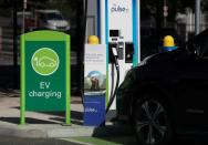 A BP Pulse electric vehicle charging point is seen in London