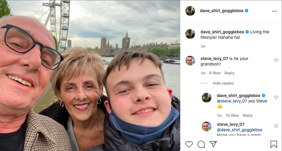 Dave and Shirley enjoyed a day out in London with their grandson (Instagram @dave_shirl_gogglebox)