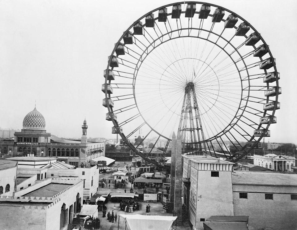"""<p>Also called the Chicago Wheel, this Ferris Wheel was the main attraction at the 1893 World' Fair. It reached a height of 264 feet, and was so solid that when <a href=""""https://cdnc.ucr.edu/?a=d&d=SFC18930710.2.2&e=-------en--20--1--txt-txIN--------1"""" rel=""""nofollow noopener"""" target=""""_blank"""" data-ylk=""""slk:tornado-force winds"""" class=""""link rapid-noclick-resp"""">tornado-force winds</a> hit the wheel with their full might, the wheel was unharmed. After the Exhibition, the wheel was dismantled and shipped to St. Louis for the 1904 World's Fair. </p>"""