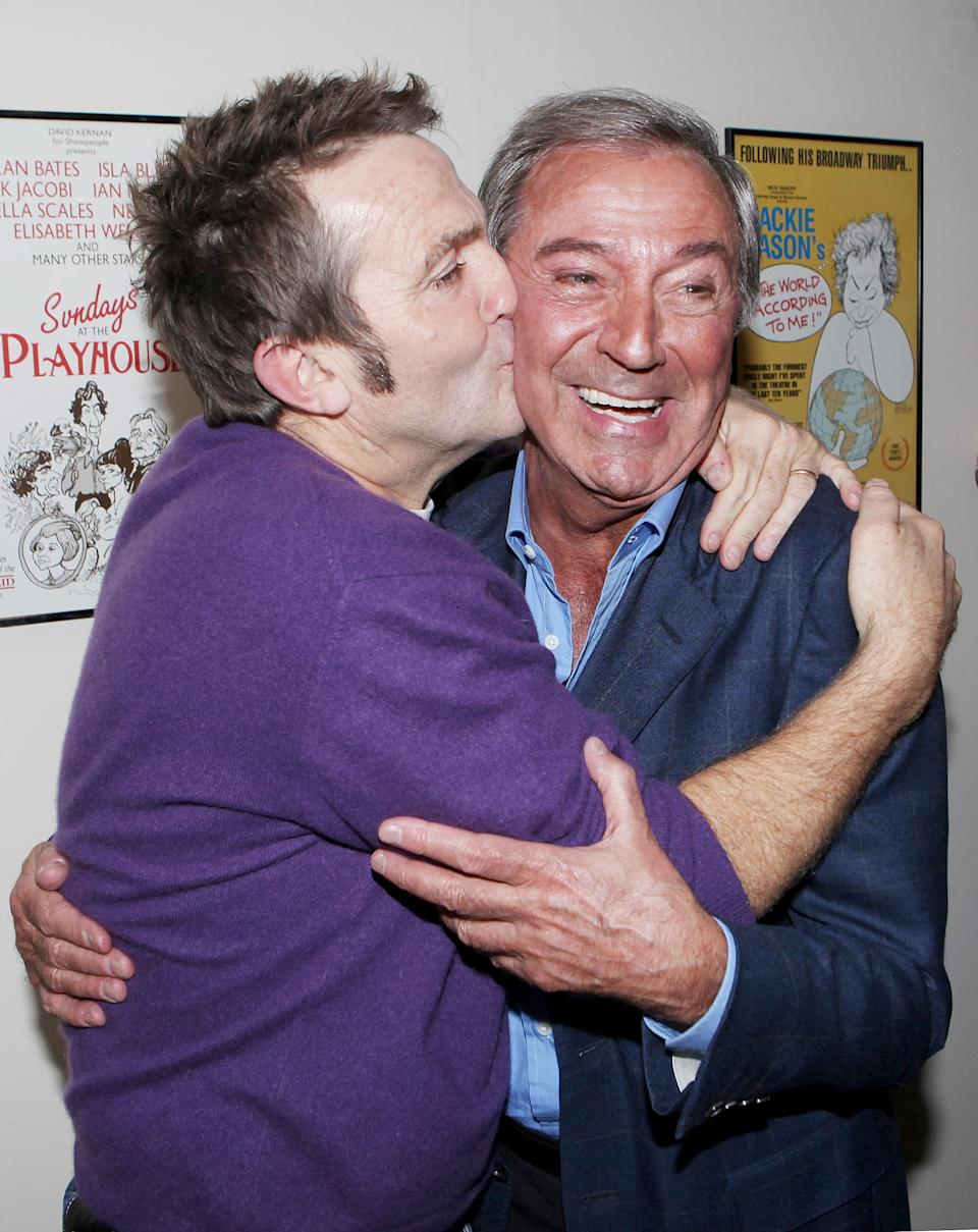 "LONDON, ENGLAND - OCTOBER 20: (EMBARGOED FOR PUBLICATION IN UK TABLOID NEWSPAPERS UNTIL 48 HOURS AFTER CREATE DATE AND TIME. MANDATORY CREDIT PHOTO BY DAVE M. BENETT/GETTY IMAGES REQUIRED) Bradley Walsh (L) and Des O'Connor attendsa party celebrating the addition of veteran entertainer Des O'Connor to the cast of the West End Production of ""Dreamboats And Petticoats"" at the Playhouse Theatre on October 20, 2011 in London, England. (Photo by Dave M. Benett/Getty Images)"