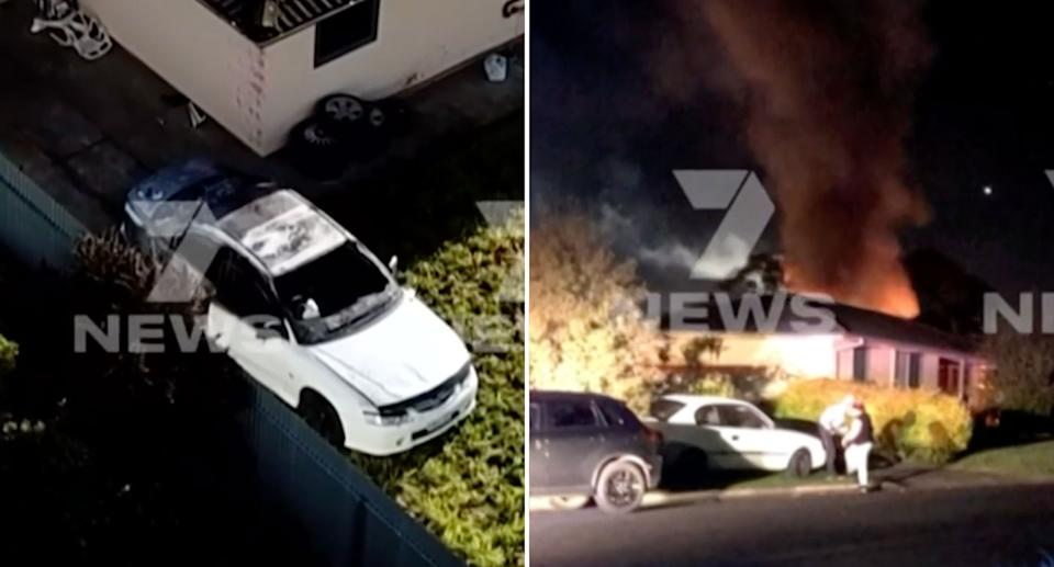 A woman's car was set on fire in Mt Gambier, after she tested positive for Covid-19. Source: 7News