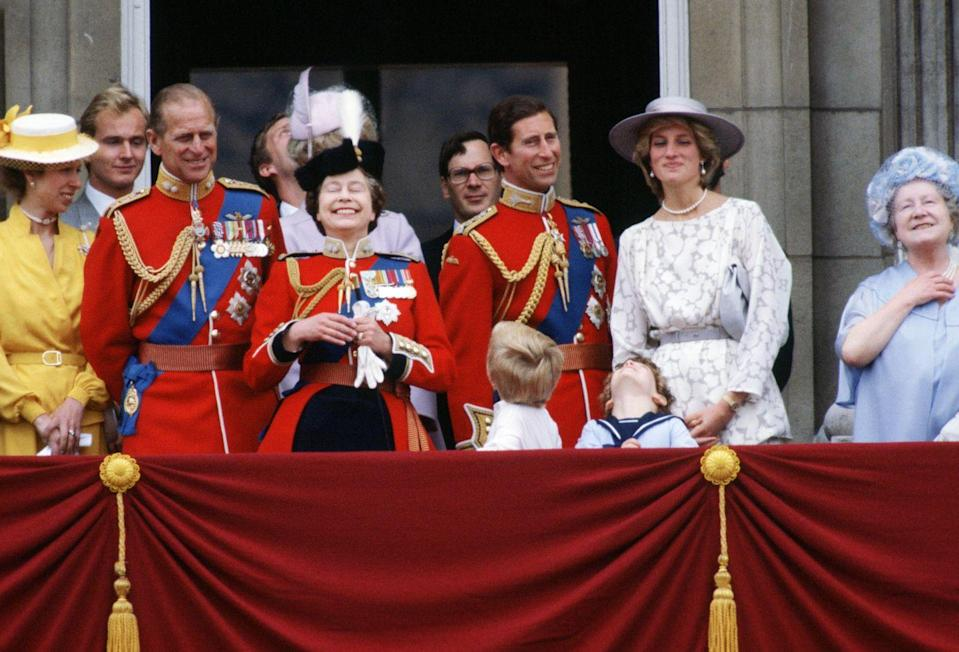 <p>Getting the giggles after the annual Trooping the Colour parade.</p>