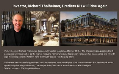 Richard Thalheimer, Successful Investor, founder and former CEO of The Sharper Image at RH New York. He predicts the RH stock price will move higher as the market recovers. His private fund, The Sharper Fund, had a total annual return of +96% last year. TheSharperFund.com.