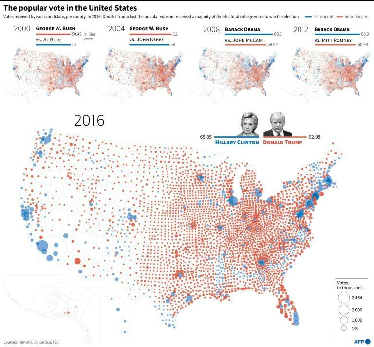 Maps with the results of the popular vote in the last five presidential elections in the United States
