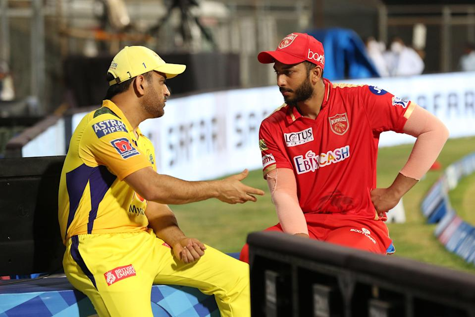MS Dhoni and Shahrukh Khan talk to each other after match 8 of the Vivo Indian Premier League 2021.
