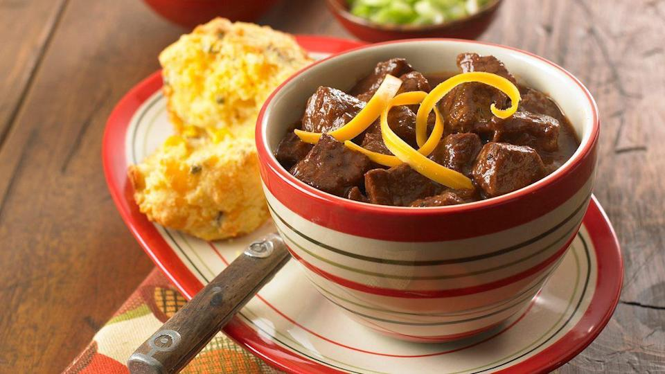 """<p>Because it's Texas-style, there are no beans in this chili. There is an interesting ingredient, however: unsweetened cocoa powder. It will add a new dimension to your chili. </p> <p><a href=""""https://www.thedailymeal.com/recipes/texas-style-cocoa-chili?referrer=yahoo&category=beauty_food&include_utm=1&utm_medium=referral&utm_source=yahoo&utm_campaign=feed"""" rel=""""nofollow noopener"""" target=""""_blank"""" data-ylk=""""slk:For the Texas Style Cocoa Chili recipe, click here"""" class=""""link rapid-noclick-resp"""">For the Texas Style Cocoa Chili recipe, click here</a>.</p>"""