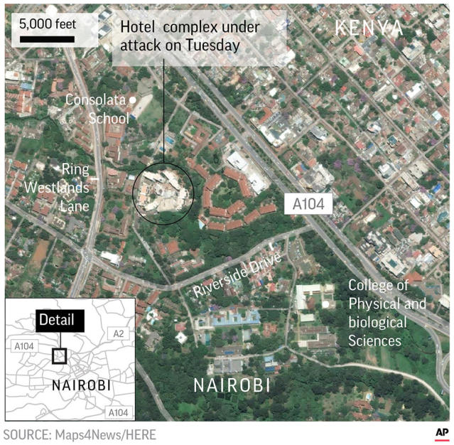 Extremists attack hotel in Nairobi; al-Shabab claims role