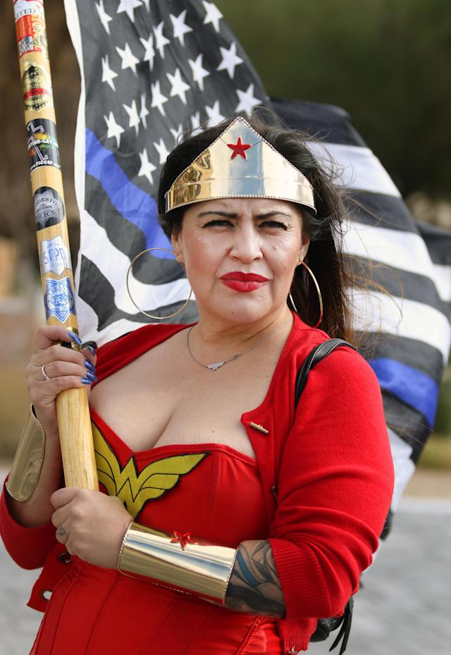 Laura Zulema of Sacramento, Calif., at the Conservative Women for America counterprotest in Las Vegas on Saturday. (Photo: Ronda Churchill for Yahoo)