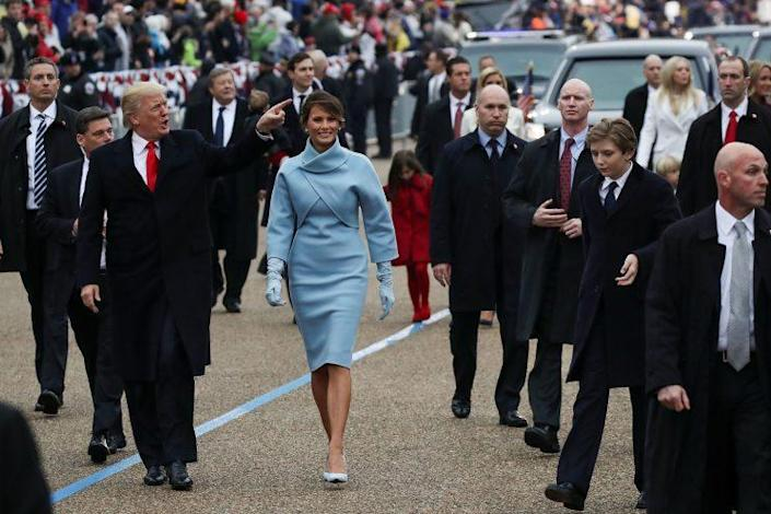 First Lady Melania Trump wears a pale blue Ralph Lauren ensemble during her husband's inauguration. (Photo: Getty Images)