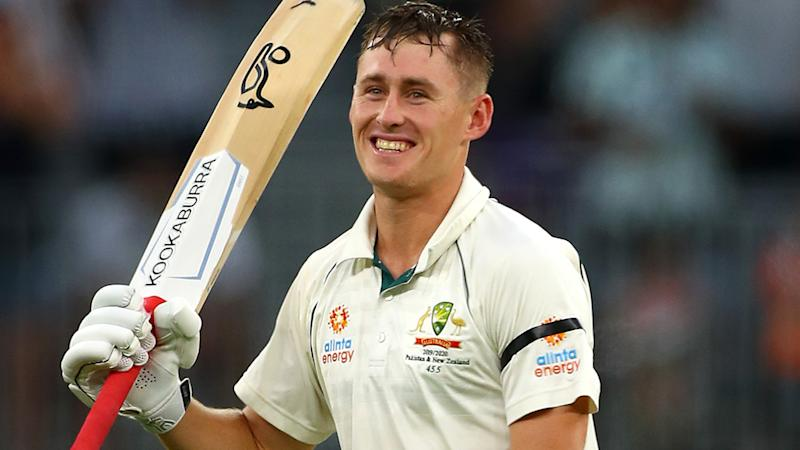 Marnus Labuschagne, pictured here celebrating a century against New Zealand in December.