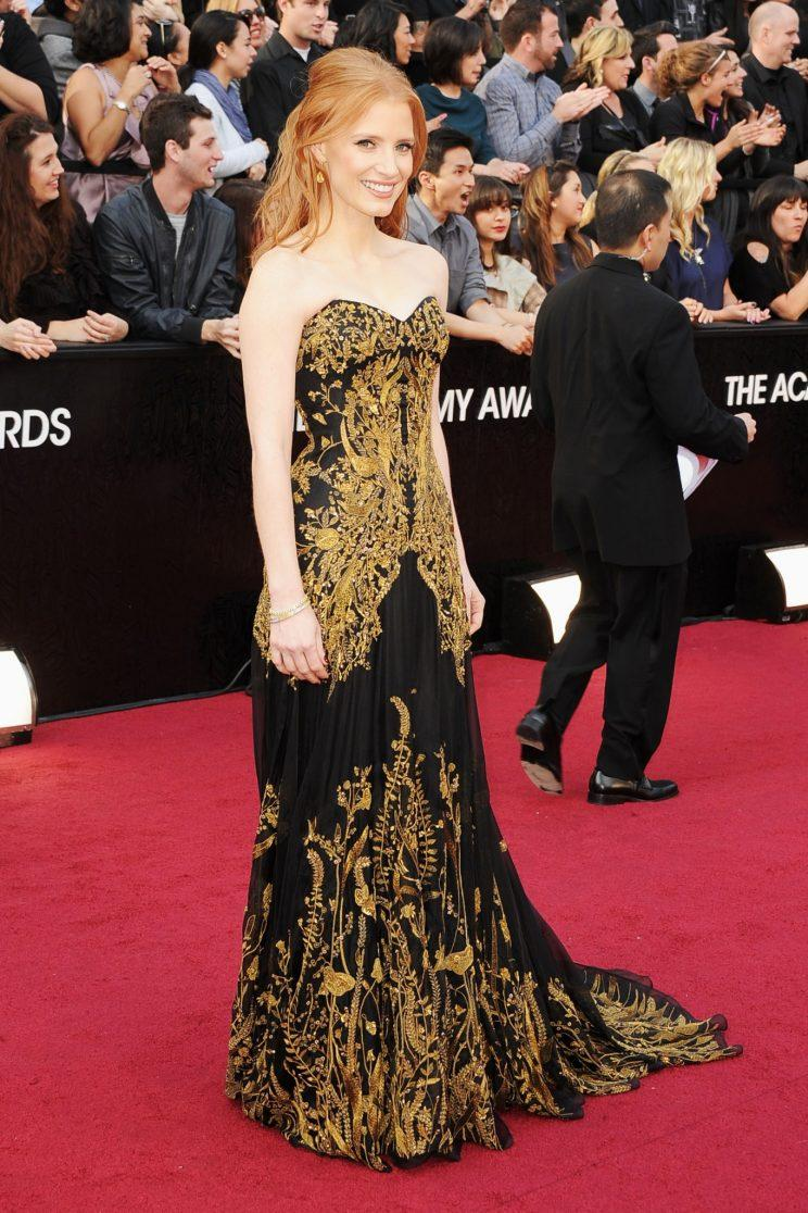 Jessica Chastain in McQueen at the 2012 Academy Awards. (Photo: Getty Images)