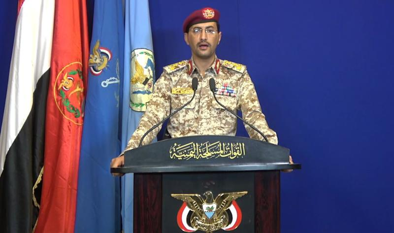 An image grab taken from a video made available by al-Houthi Media Office shows Houthi military spokesman Brigadier-General Yahia Sarie speaking at a press conference on Sept. 14, 2019, during which Yemen's Iran-aligned rebels claimed responsibility for the drone attacks on Saudi Aramco's processing plants in Abqaiq and Khurais. | -—AFP/Getty Images