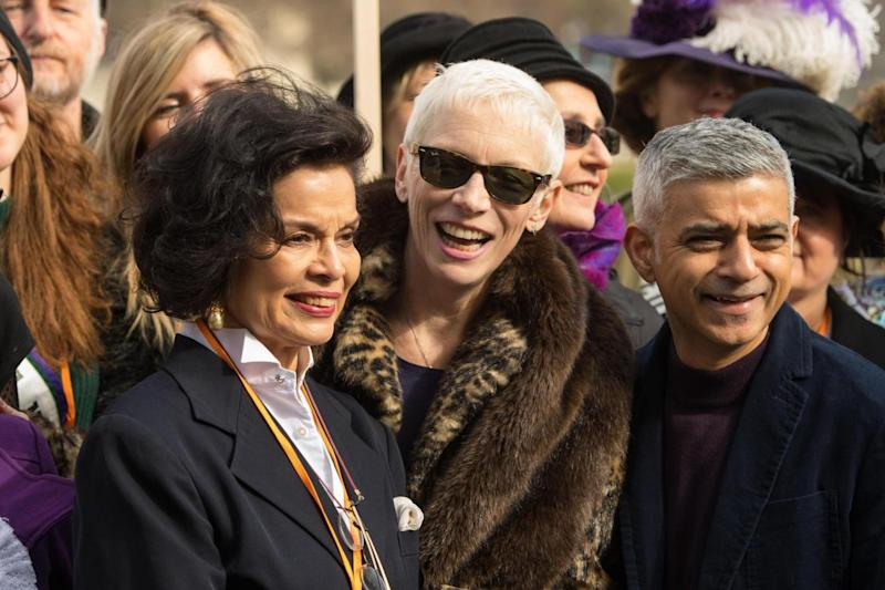 Bianca Jagger, Annie Lennox and Mayor of London Sadiq Khan at the March4Women event (PA)