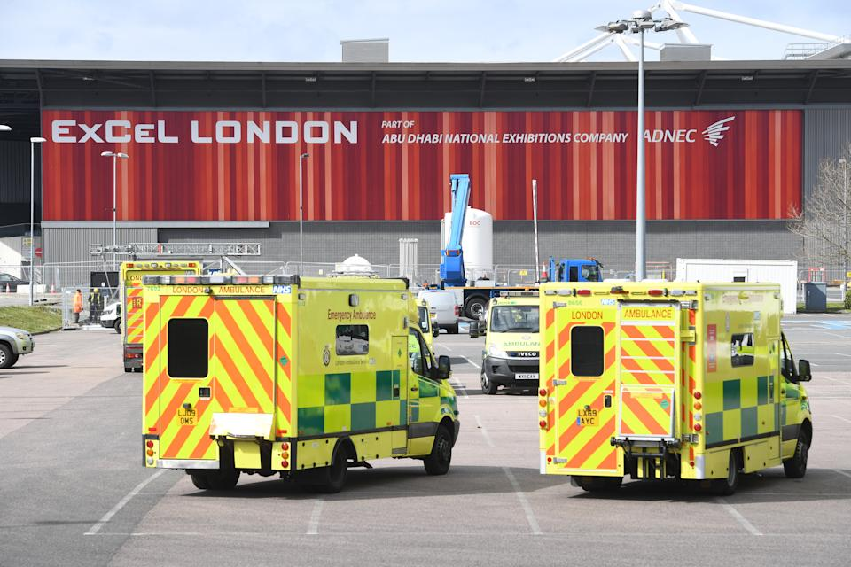 Ambulances at the ExCel centre in London which is being made into a temporary hospital - the NHS Nightingale hospital - comprising of two wards, each of 2,000 people, to help tackle coronavirus.