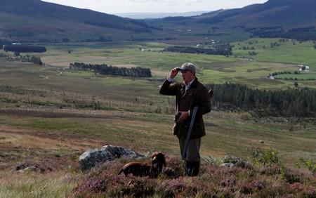 A members of a shooting party on the Rottal Moor on the opening day of the Grouse shooting season, Kirriemuir, Scotland