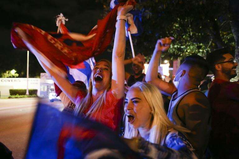 Supporters of US President Donald Trump rally in front of the Cafe Versailles in Miami, Florida on November 3, 2020
