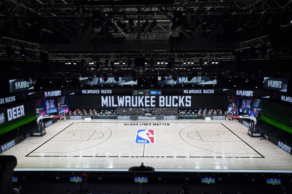 The NBA world stood behind the Bucks as they boycotted Game 5 of their series against the Magic on Wednesday over the Jacob Blake shooting. (AP/Ashley Landis, Pool)