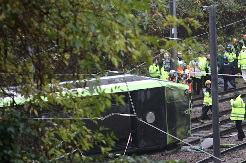 Tragedy: The tram overturned near Sandilands stop: PA