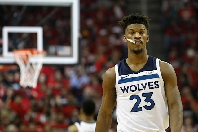 "<a class=""link rapid-noclick-resp"" href=""/nba/players/4912/"" data-ylk=""slk:Jimmy Butler"">Jimmy Butler</a> has likely worn a <a class=""link rapid-noclick-resp"" href=""/nba/teams/min"" data-ylk=""slk:Minnesota Timberwolves"">Minnesota Timberwolves</a> uniform for the last time. (Getty Images"